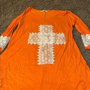 Dresses & Skirts - Orange tunic style dress with white lace